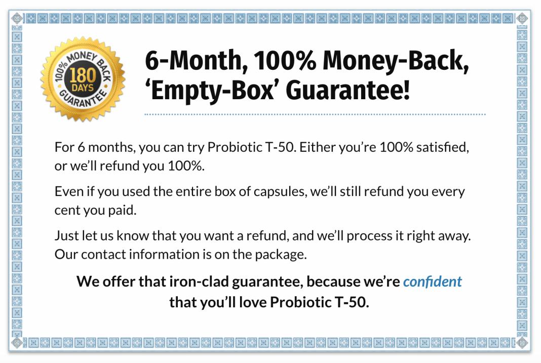 Probiotic T 50 Moneyback Guarantee