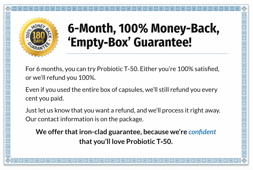 Probiotic T 50 Moneyback Guarantee