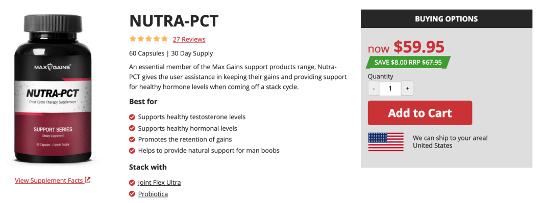 Max Gains Nutra PCT