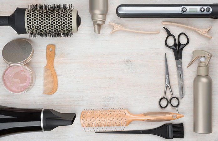 hairstyle-tools-brush-scissors-comb-hair-blower-curler