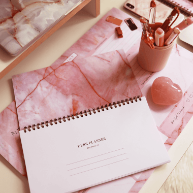 Student Desk Planner in Luxurious Rose Quartz