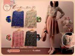 #0247•Cute Korean Ribbon Top•@54•seri4pcs Rp190rb•Fit to L•Bahan Spandex Korea•Bagian belakang ikat pita