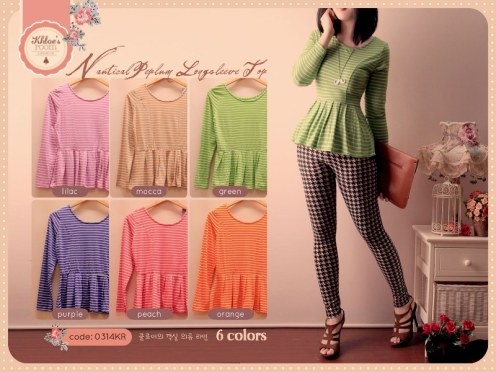 #0314•Nautical Peplum Top @52•Bahan Spandex Rayon•Fit to L•Seri 6pc Rp273rb