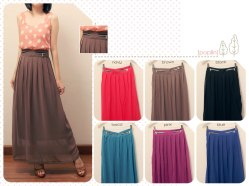 Zipper Maxi Skirt (only blue) @60 - chiffon+furing fit to L