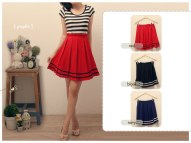 RESTOCK BEST SELLER! 3107 Pleats Nautical Skirt - ecer @62 - seri3pcs Rp165rb - woolcrepe fit to L