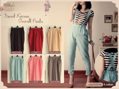 #0331C Sweet Overall Pants - ecer@62rb - seri6w 336rb -bahan Twiscone - fit to L - (tali overall bs dilepas)