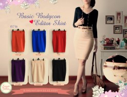 Basic Bodycon Editor Skirt FREE BELT- ecer@66 - seri6w 360rb - bhn wedges HIGH QUALITY