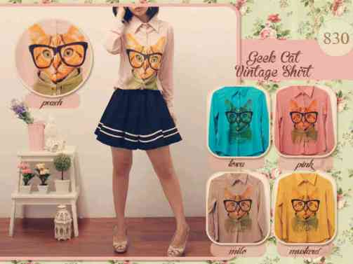 #830 GEEK CAT - ecer@58 - seri5w 265rb - import fabric- fit to L