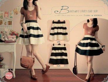 Bangkok Stripey Skirt - ecer@56rb - seri4pcs 200rb - twiscon - pinggang karet - fit to l