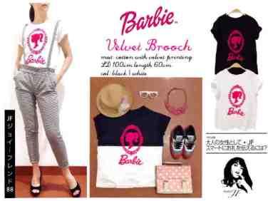 Barbie Velvet Broch - ecer@40 - seri4pcs 140rb - bahan kaos+aplikasi beludru - fit to XL