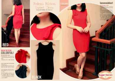 Relena Ribbon Dress - ecer@67 - seri4pcs 244rb - bahan wedges - fit to L