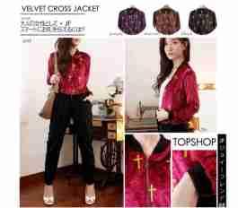 Topshop Velvet Cross Jacket - ecer@66rb - seri4w 240rb - Beludru + Glitter Print Depan - fit to L