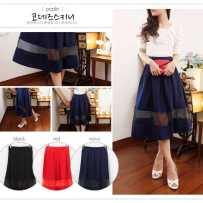 Organdy Panel Skirt - ecer@ 66rb - seri4w 240rb - fit to L - woolcrepe