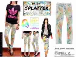 Paint Splatter Ripped Jegging - ecer@100rb - seri4pcs 380rb -bahan Stretch + robek2