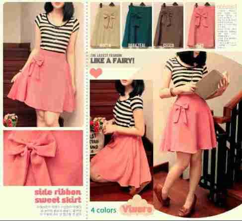Side Ribbon Sweet Skirt - ecer@57rb - seri4w 204rb- fit to L - bhn twistcone blkg karet - panjang rok ±50cm