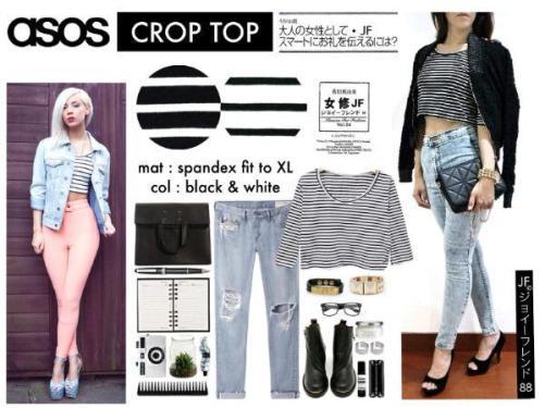 Asos Crop Top - ecer@40rb - seri 4pcs 140rb - Spandex - fit to L besar