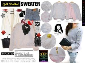 Gold Studded Sweater - ecer@57rb - seri4w 208rb - bahan Babyteri impor + Stud Pundak - fit to L