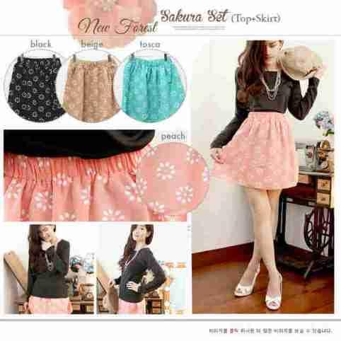 Sakura Set (long top+skirt) - ecer@65rb - seri4w 240rb - top(spandex tebal) skirt(twistcone+sekeliling karet) .