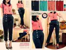 Side Buttons Pants - ecer@64rb - seri4w 232rb -wedges tebal+blkg karet - fit to L
