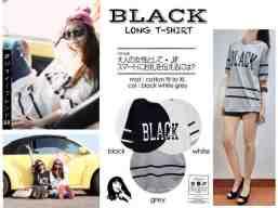BLACK Long T-shirt - ecer@41rb- seri3w 108 - bahan Kaos - fit to XL(P70 LD100)