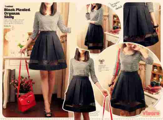 Black Organza Skirt - ecer@59rb - seri4pcs 212rb - twistcone tebal + organza + karet belakang - fit to L