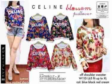 Celine Blossom Pullover - ecer@67rb - seri4w 248rb - bahan Wedges Tebal + Digital Print - fit to XL