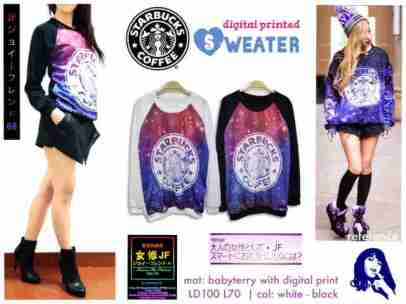 Galaxy Starbuck Sweater - ecer@67rb - seri4pcs 248rb - bahan Babyterry + digital print - fit to XL