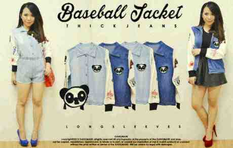 Panda Baseball Jacket - ecer@79rb - seri4pcs 292rb - jeans tebal - fit to L