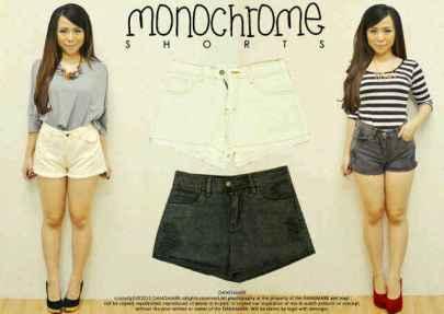 Monochrome Shorts - ecer@67rb - seri4pcs 244rb - jeans - fit to M&L