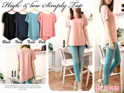 Highlow Simply Top - ecer@54 - seri4w 192rb - bhn jersey ITY import (lembut+jatuh dipake) - fit to L besar