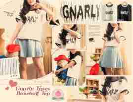 (IMPORT) GNARLY Baseball Tee - ecer@66 - seri4pcs 240rb - babyterry - fit to L