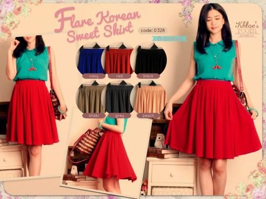 Korean Sweet Skirt - ecer@59 - seri6w 324rb - jersey - fit to L besar