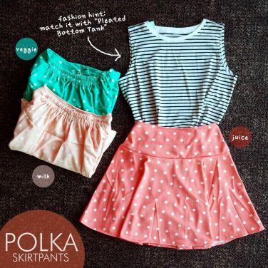 Polka Skirt Pants - ecer@61rb - seri4w 224rb - bahan Wedges Tebal + Furing bentuk celana + Pinggang Karet - fit to XL