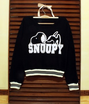 Black Snoopy Baseball Sweatshirt - ecer@57 - seri4pcs 208rb - babyterry - fit to L