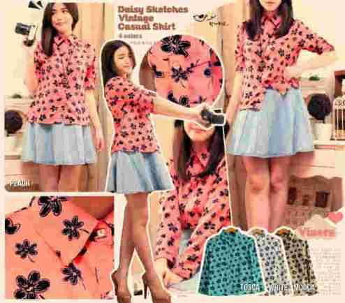 Daisy Vintage Shirt - ecer@61rb - seri4w 224rb - bhn serena (tebal tdk tembus) - fit to L