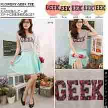 Flowery Geek Crop Tee - ecer@44rb - seri6w 234rb bahan Kaos Slub (mirip bahan Zara) - fit to L