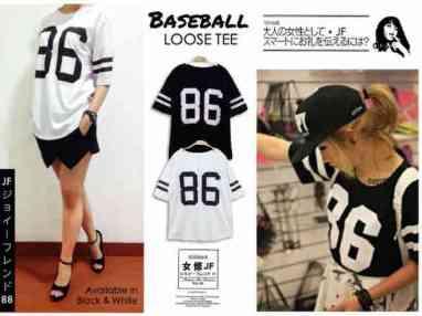RESTOCK LAGI! 86 Baseball Tee - ecer@42rb - seri4pcs 148rb bahan Kaos - fit to XL
