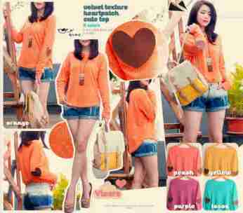 Velvet Heart Patch Sweater - ecer@69 - seri5w 320rb - bhn sweater impor, tekstur timbul - lengan panjang - fit to L