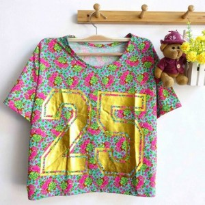 Gold 25 Crop Top - ecer@43rb -bahan Spandex+foil emas - fit to XL