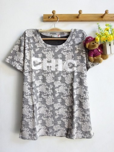 [IMPORT] Florette Chic Top - ecer@79 - bhn kaos spandex tebal stretch emboss rose - Fit to XL