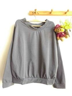 Mini Dotty Pullover(Grey) - ecer@57rb - seri3w 156rb - bahan Spandex Dotty (bahan unik & bagus) - fit to XL
