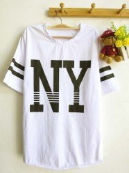 NY Baseball Tee (White) - ecer@42rb - seri4pcs 148rb bahan Kaos - fit to XL