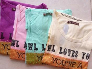 Owl Loves You Tee (detail) - dari kiri purple, pink, tosca, cream