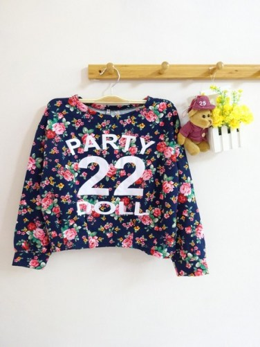 Summer Party Doll Crop Sweater (Navy) - ecer@61rb - seri2pcs 114rb - wedges - fit to L