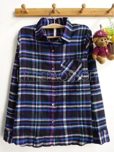 Festive Plaid Shirt (blue) - ecer@83rb - seri3w 234rb - flanel - fit to L