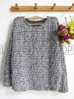 [IMPORT] Fluffy Sequin Sweater (black) - ecer@88rb - seri3w 249rb - rajut+bulu+payet - fit to L