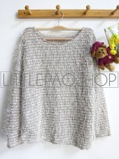 [IMPORT] Fluffy Sequin Sweater (white) - ecer@88rb - seri3w 249rb - rajut+bulu+payet - fit to L