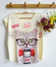 [IMPORT] Selfie Kitten Tee (cream) - ecer@52rb - seri3w 144rb - jersey - fit to L