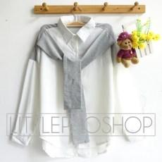 2in1 Korean Shirt - ecer@73rb - seri4pcs(2warna) 272rb - twistcone(kemeja)+(babyterry(syal) - fit to L