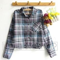 Elise Crop Flanel Shirt - ecer@79rb - seri4w 300rb - flanel - fit to L